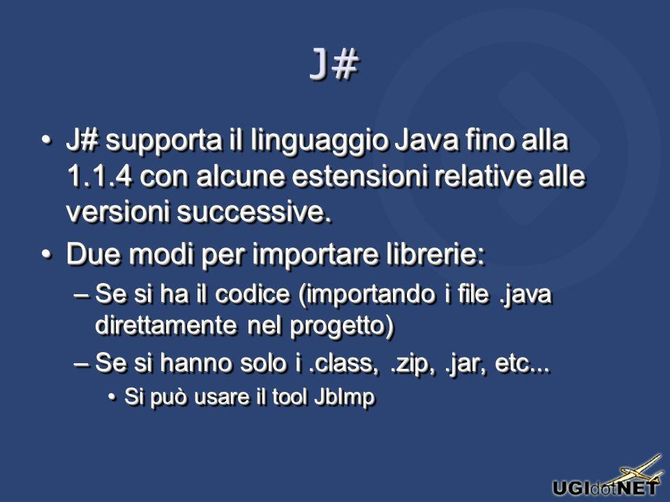 J#J# J# supporta il linguaggio Java fino alla 1.1.4 con alcune estensioni relative alle versioni successive.J# supporta il linguaggio Java fino alla 1.1.4 con alcune estensioni relative alle versioni successive.