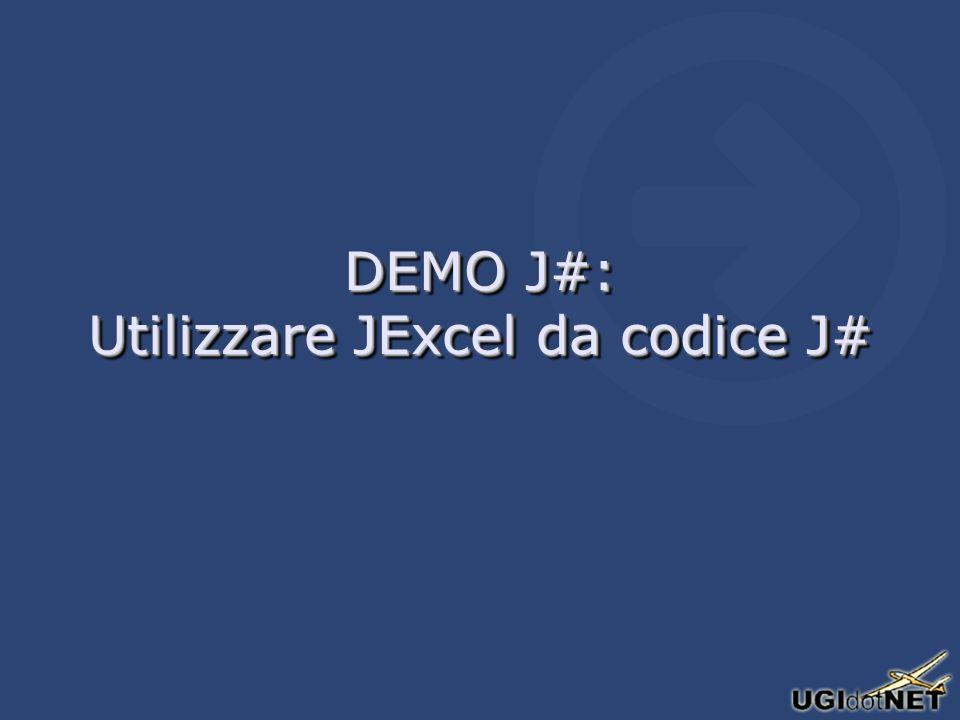 DEMO J#: Utilizzare JExcel da codice J#
