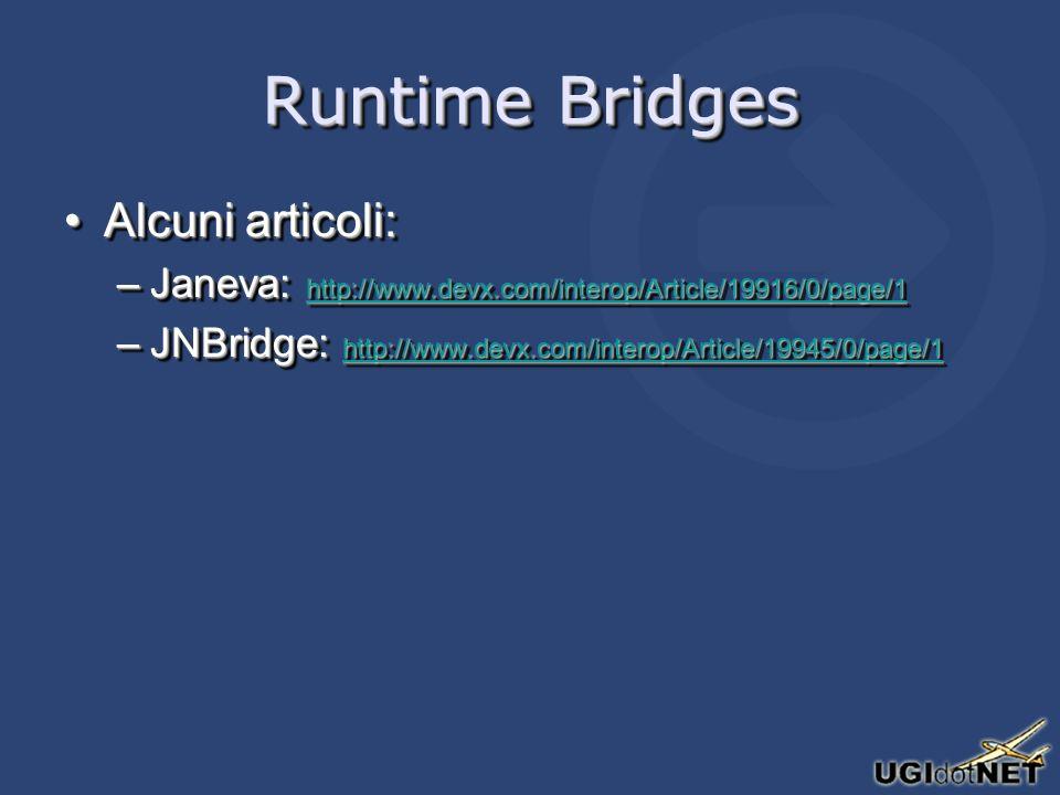 Runtime Bridges Alcuni articoli:Alcuni articoli: –Janeva: http://www.devx.com/interop/Article/19916/0/page/1 http://www.devx.com/interop/Article/19916/0/page/1 –JNBridge: http://www.devx.com/interop/Article/19945/0/page/1 http://www.devx.com/interop/Article/19945/0/page/1 Alcuni articoli:Alcuni articoli: –Janeva: http://www.devx.com/interop/Article/19916/0/page/1 http://www.devx.com/interop/Article/19916/0/page/1 –JNBridge: http://www.devx.com/interop/Article/19945/0/page/1 http://www.devx.com/interop/Article/19945/0/page/1