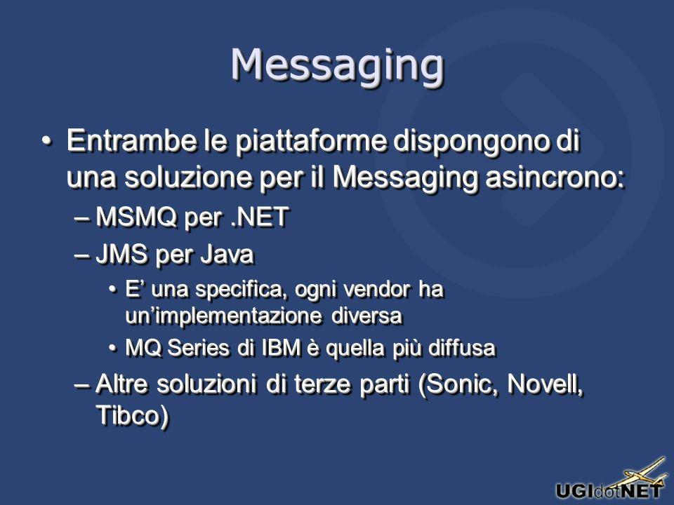MessagingMessaging Entrambe le piattaforme dispongono di una soluzione per il Messaging asincrono:Entrambe le piattaforme dispongono di una soluzione per il Messaging asincrono: –MSMQ per.NET –JMS per Java E una specifica, ogni vendor ha unimplementazione diversaE una specifica, ogni vendor ha unimplementazione diversa MQ Series di IBM è quella più diffusaMQ Series di IBM è quella più diffusa –Altre soluzioni di terze parti (Sonic, Novell, Tibco) Entrambe le piattaforme dispongono di una soluzione per il Messaging asincrono:Entrambe le piattaforme dispongono di una soluzione per il Messaging asincrono: –MSMQ per.NET –JMS per Java E una specifica, ogni vendor ha unimplementazione diversaE una specifica, ogni vendor ha unimplementazione diversa MQ Series di IBM è quella più diffusaMQ Series di IBM è quella più diffusa –Altre soluzioni di terze parti (Sonic, Novell, Tibco)