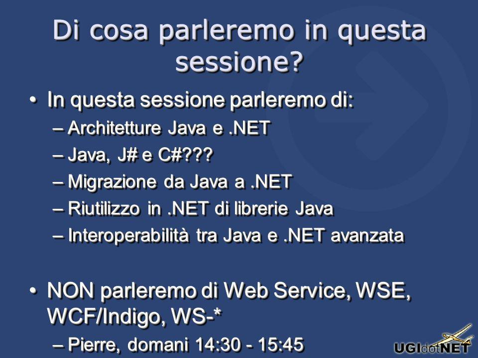Come funziona IKVM.NET IKVM.NET emula una JVM, permette di leggere bytecode Java, converte bytecode Java in ILIKVM.NET emula una JVM, permette di leggere bytecode Java, converte bytecode Java in IL Dispone di unimplementazione delle principali librerie Java in un Assebly.NETDispone di unimplementazione delle principali librerie Java in un Assebly.NET –Basata sul progetto GNU ClassPath Non supporta la parte grafica (non è prioritaria per lautore)Non supporta la parte grafica (non è prioritaria per lautore) Ha un supporto iniziale per i Generics di JavaHa un supporto iniziale per i Generics di Java IKVM.NET emula una JVM, permette di leggere bytecode Java, converte bytecode Java in ILIKVM.NET emula una JVM, permette di leggere bytecode Java, converte bytecode Java in IL Dispone di unimplementazione delle principali librerie Java in un Assebly.NETDispone di unimplementazione delle principali librerie Java in un Assebly.NET –Basata sul progetto GNU ClassPath Non supporta la parte grafica (non è prioritaria per lautore)Non supporta la parte grafica (non è prioritaria per lautore) Ha un supporto iniziale per i Generics di JavaHa un supporto iniziale per i Generics di Java