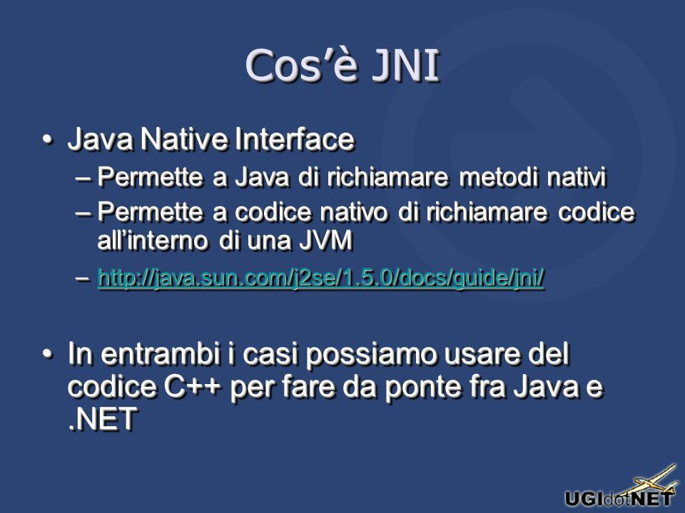 Cosè JNI Java Native InterfaceJava Native Interface –Permette a Java di richiamare metodi nativi –Permette a codice nativo di richiamare codice allinterno di una JVM –http://java.sun.com/j2se/1.5.0/docs/guide/jni/ http://java.sun.com/j2se/1.5.0/docs/guide/jni/ In entrambi i casi possiamo usare del codice C++ per fare da ponte fra Java e.NETIn entrambi i casi possiamo usare del codice C++ per fare da ponte fra Java e.NET Java Native InterfaceJava Native Interface –Permette a Java di richiamare metodi nativi –Permette a codice nativo di richiamare codice allinterno di una JVM –http://java.sun.com/j2se/1.5.0/docs/guide/jni/ http://java.sun.com/j2se/1.5.0/docs/guide/jni/ In entrambi i casi possiamo usare del codice C++ per fare da ponte fra Java e.NETIn entrambi i casi possiamo usare del codice C++ per fare da ponte fra Java e.NET