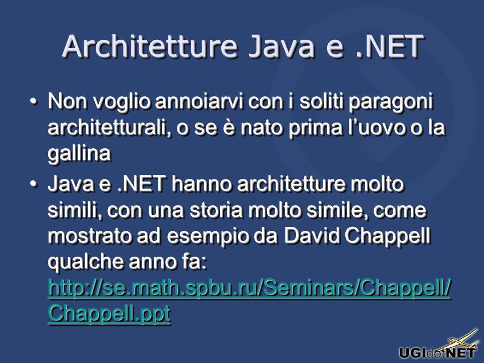 Architetture Java e.NET Non voglio annoiarvi con i soliti paragoni architetturali, o se è nato prima luovo o la gallinaNon voglio annoiarvi con i soliti paragoni architetturali, o se è nato prima luovo o la gallina Java e.NET hanno architetture molto simili, con una storia molto simile, come mostrato ad esempio da David Chappell qualche anno fa: http://se.math.spbu.ru/Seminars/Chappell/ Chappell.pptJava e.NET hanno architetture molto simili, con una storia molto simile, come mostrato ad esempio da David Chappell qualche anno fa: http://se.math.spbu.ru/Seminars/Chappell/ Chappell.ppt http://se.math.spbu.ru/Seminars/Chappell/ Chappell.ppt http://se.math.spbu.ru/Seminars/Chappell/ Chappell.ppt Non voglio annoiarvi con i soliti paragoni architetturali, o se è nato prima luovo o la gallinaNon voglio annoiarvi con i soliti paragoni architetturali, o se è nato prima luovo o la gallina Java e.NET hanno architetture molto simili, con una storia molto simile, come mostrato ad esempio da David Chappell qualche anno fa: http://se.math.spbu.ru/Seminars/Chappell/ Chappell.pptJava e.NET hanno architetture molto simili, con una storia molto simile, come mostrato ad esempio da David Chappell qualche anno fa: http://se.math.spbu.ru/Seminars/Chappell/ Chappell.ppt http://se.math.spbu.ru/Seminars/Chappell/ Chappell.ppt http://se.math.spbu.ru/Seminars/Chappell/ Chappell.ppt