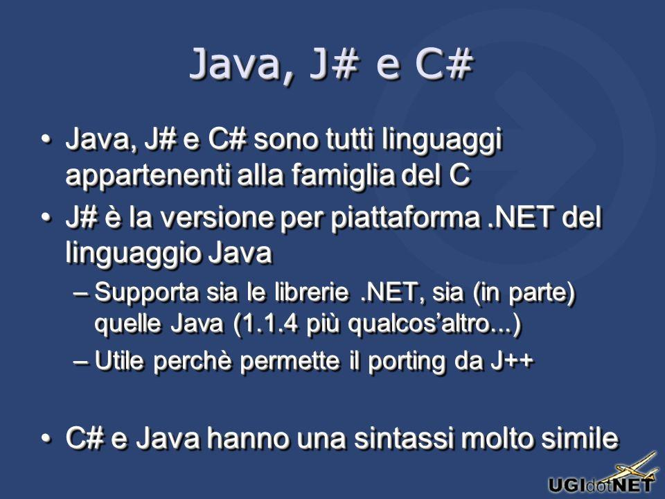 Java, J# e C# Java, J# e C# sono tutti linguaggi appartenenti alla famiglia del CJava, J# e C# sono tutti linguaggi appartenenti alla famiglia del C J# è la versione per piattaforma.NET del linguaggio JavaJ# è la versione per piattaforma.NET del linguaggio Java –Supporta sia le librerie.NET, sia (in parte) quelle Java (1.1.4 più qualcosaltro...) –Utile perchè permette il porting da J++ C# e Java hanno una sintassi molto simileC# e Java hanno una sintassi molto simile Java, J# e C# sono tutti linguaggi appartenenti alla famiglia del CJava, J# e C# sono tutti linguaggi appartenenti alla famiglia del C J# è la versione per piattaforma.NET del linguaggio JavaJ# è la versione per piattaforma.NET del linguaggio Java –Supporta sia le librerie.NET, sia (in parte) quelle Java (1.1.4 più qualcosaltro...) –Utile perchè permette il porting da J++ C# e Java hanno una sintassi molto simileC# e Java hanno una sintassi molto simile