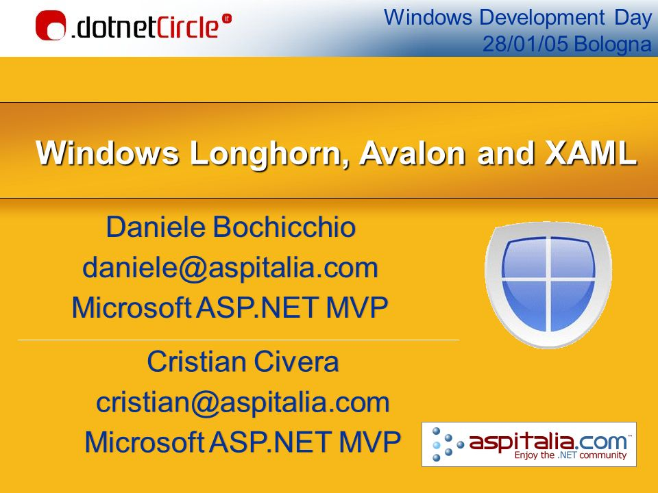 Agenda Windows Longhorn Pillars WinFX: Avalon, Aero WinFS Indigo Avalon: non solo Longhorn XAML Fondamenti, il code behind, i nuovi controlli, style BAML e compilazione delle applicazioni Costruzione di applicazioni 3D Binding ed applicazioni data-centric Eventi e il nuovo concetto di comandi Rivoluzione e futuro Windows Longhorn Pillars WinFX: Avalon, Aero WinFS Indigo Avalon: non solo Longhorn XAML Fondamenti, il code behind, i nuovi controlli, style BAML e compilazione delle applicazioni Costruzione di applicazioni 3D Binding ed applicazioni data-centric Eventi e il nuovo concetto di comandi Rivoluzione e futuro