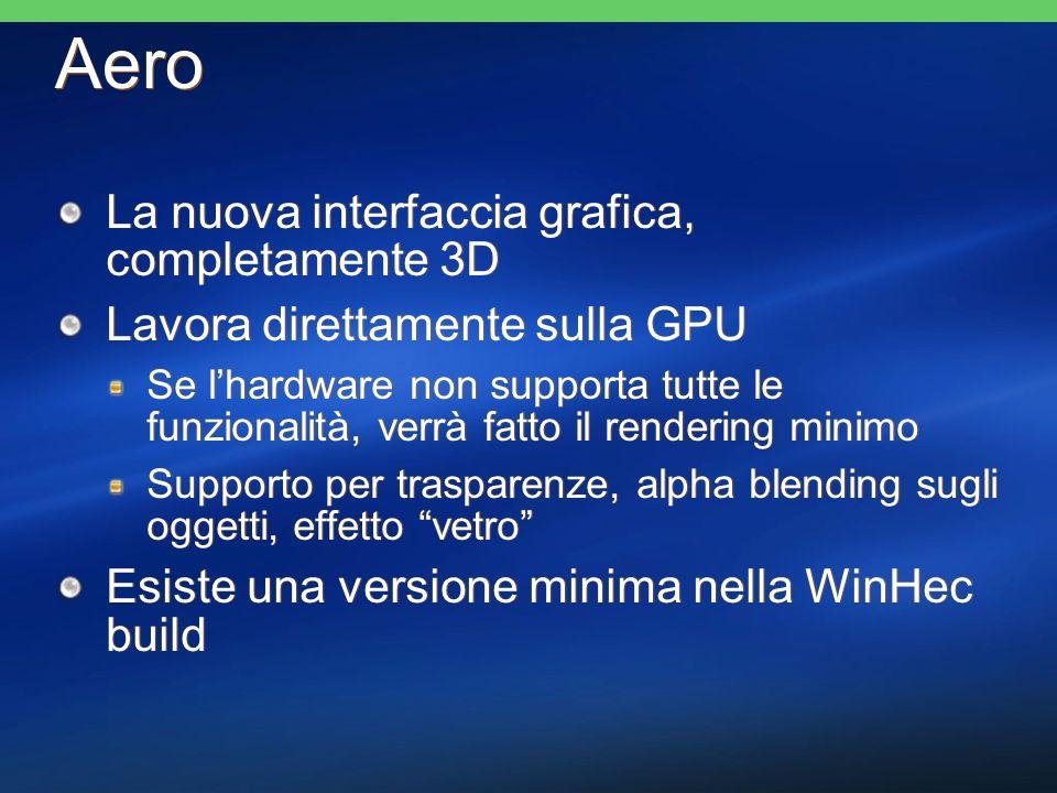 Aero La nuova interfaccia grafica, completamente 3D Lavora direttamente sulla GPU Se lhardware non supporta tutte le funzionalità, verrà fatto il rend