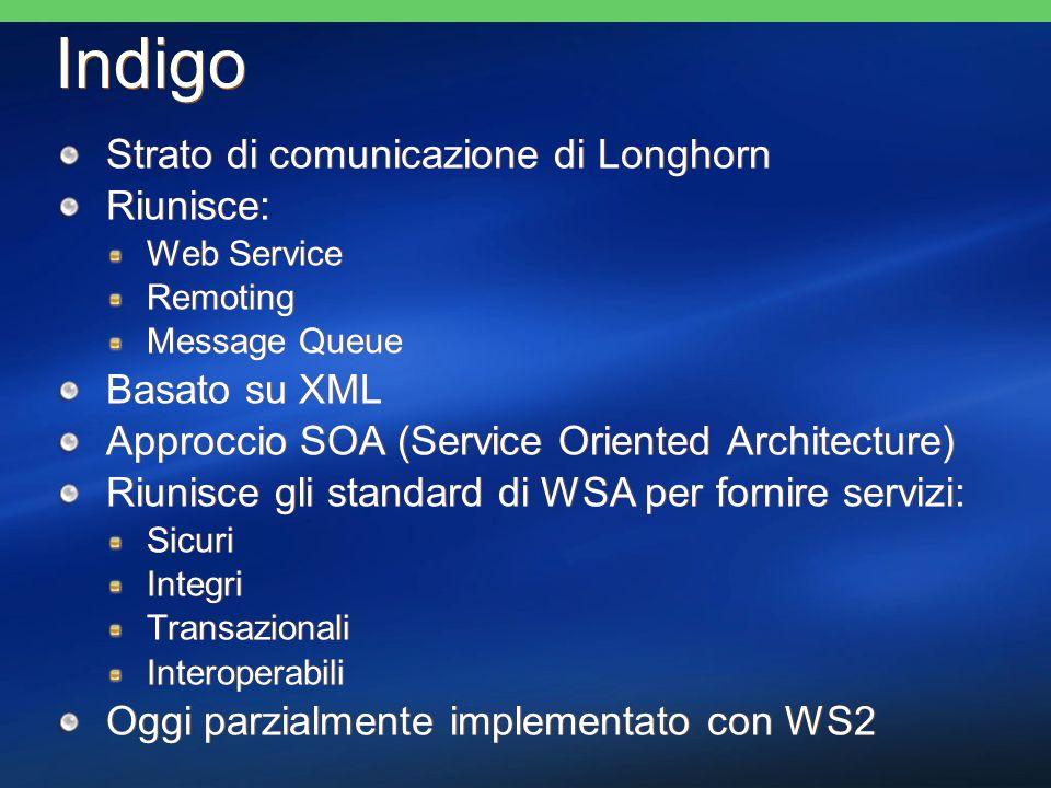 Indigo Strato di comunicazione di Longhorn Riunisce: Web Service Remoting Message Queue Basato su XML Approccio SOA (Service Oriented Architecture) Riunisce gli standard di WSA per fornire servizi: Sicuri Integri Transazionali Interoperabili Oggi parzialmente implementato con WS2 Strato di comunicazione di Longhorn Riunisce: Web Service Remoting Message Queue Basato su XML Approccio SOA (Service Oriented Architecture) Riunisce gli standard di WSA per fornire servizi: Sicuri Integri Transazionali Interoperabili Oggi parzialmente implementato con WS2