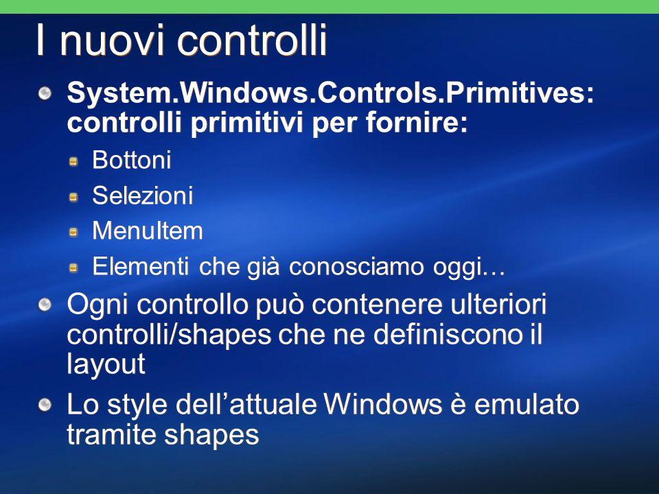 I nuovi controlli System.Windows.Controls.Primitives: controlli primitivi per fornire: Bottoni Selezioni MenuItem Elementi che già conosciamo oggi… Og