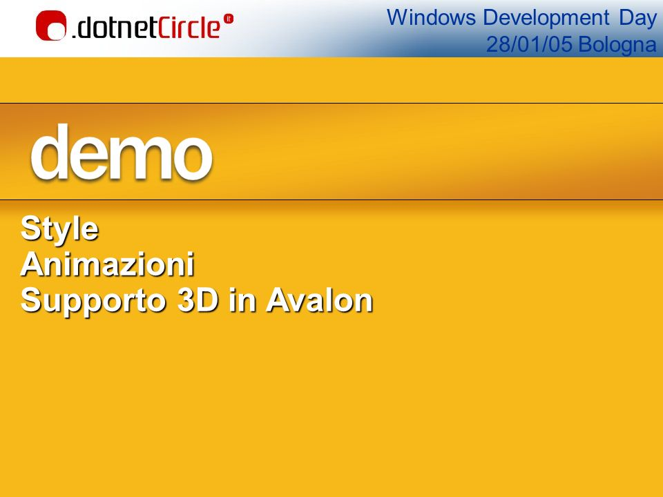 Windows Development Day 28/01/05 BolognaStyleAnimazioni Supporto 3D in Avalon