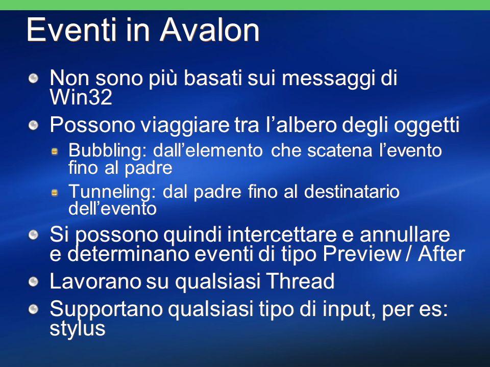 Eventi in Avalon Non sono più basati sui messaggi di Win32 Possono viaggiare tra lalbero degli oggetti Bubbling: dallelemento che scatena levento fino al padre Tunneling: dal padre fino al destinatario dellevento Si possono quindi intercettare e annullare e determinano eventi di tipo Preview / After Lavorano su qualsiasi Thread Supportano qualsiasi tipo di input, per es: stylus Non sono più basati sui messaggi di Win32 Possono viaggiare tra lalbero degli oggetti Bubbling: dallelemento che scatena levento fino al padre Tunneling: dal padre fino al destinatario dellevento Si possono quindi intercettare e annullare e determinano eventi di tipo Preview / After Lavorano su qualsiasi Thread Supportano qualsiasi tipo di input, per es: stylus