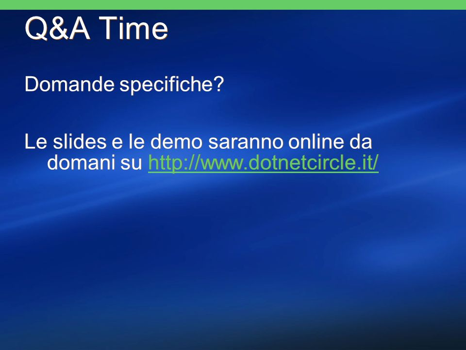 Q&A Time Domande specifiche.