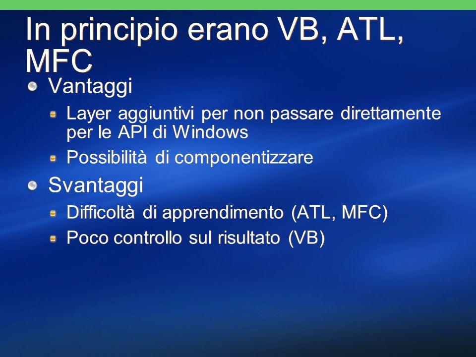 In principio erano VB, ATL, MFC Vantaggi Layer aggiuntivi per non passare direttamente per le API di Windows Possibilità di componentizzare Svantaggi