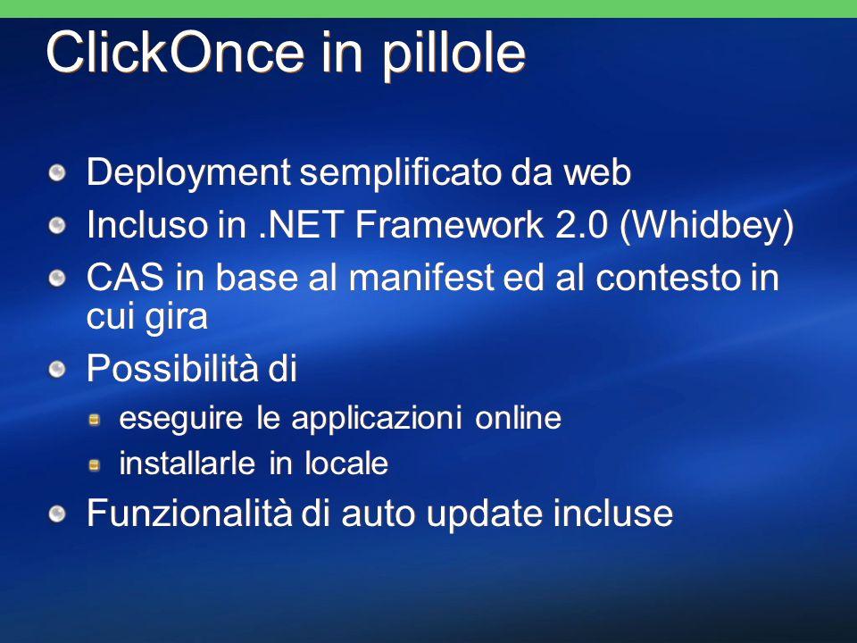 Avalon November 04 CTP Versione di Avalon per Windows XP e Windows Server 2003 Richiede il.NET Framework 2.0 Nov 04 CTP Include un SDK Prima versione a supportare i sistemi operativi vecchi La versione finale di Avalon girerà su XP, 2003, 2003 R2 e Longhorn Video e audio non sono attivi Versione di Avalon per Windows XP e Windows Server 2003 Richiede il.NET Framework 2.0 Nov 04 CTP Include un SDK Prima versione a supportare i sistemi operativi vecchi La versione finale di Avalon girerà su XP, 2003, 2003 R2 e Longhorn Video e audio non sono attivi