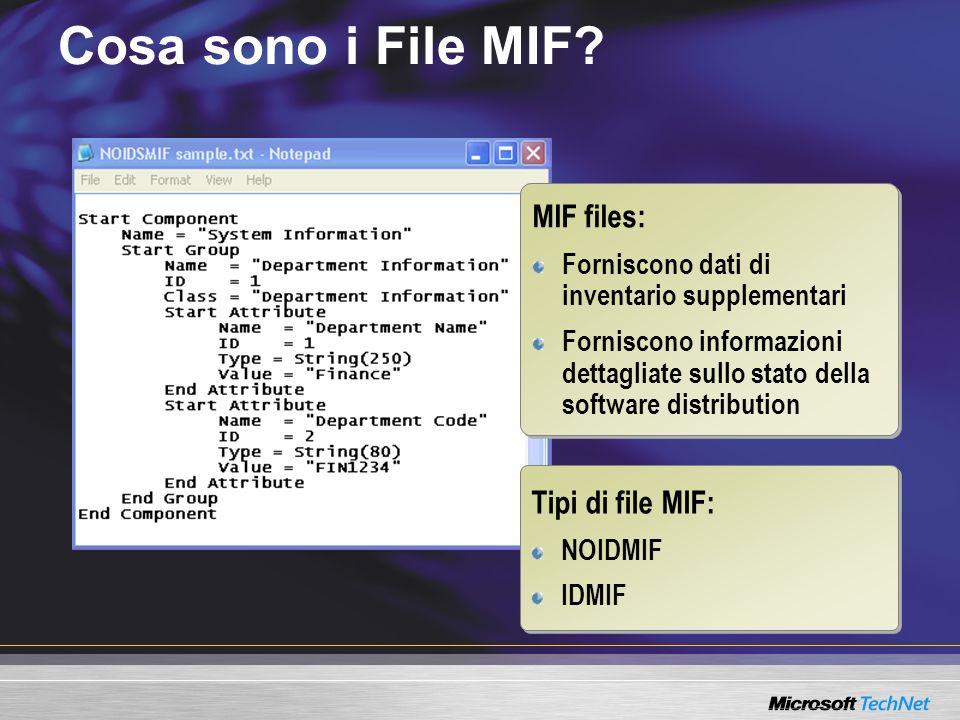 Cosa sono i File MIF? MIF files: Forniscono dati di inventario supplementari Forniscono informazioni dettagliate sullo stato della software distributi