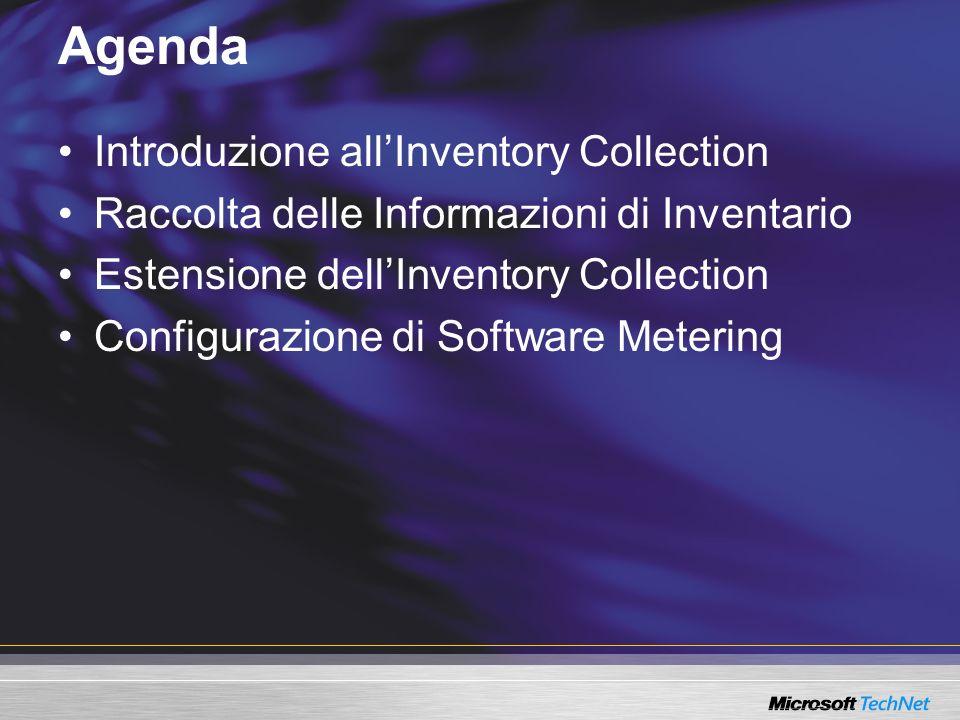 Agenda Introduzione allInventory Collection Raccolta delle Informazioni di Inventario Estensione dellInventory Collection Configurazione di Software M