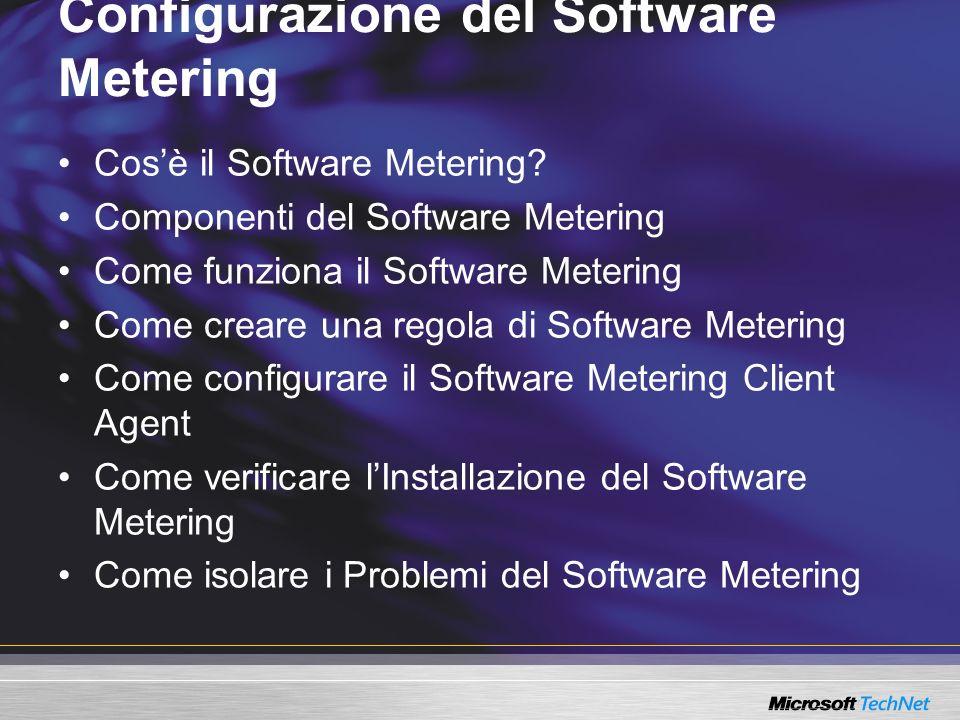 Configurazione del Software Metering Cosè il Software Metering? Componenti del Software Metering Come funziona il Software Metering Come creare una re