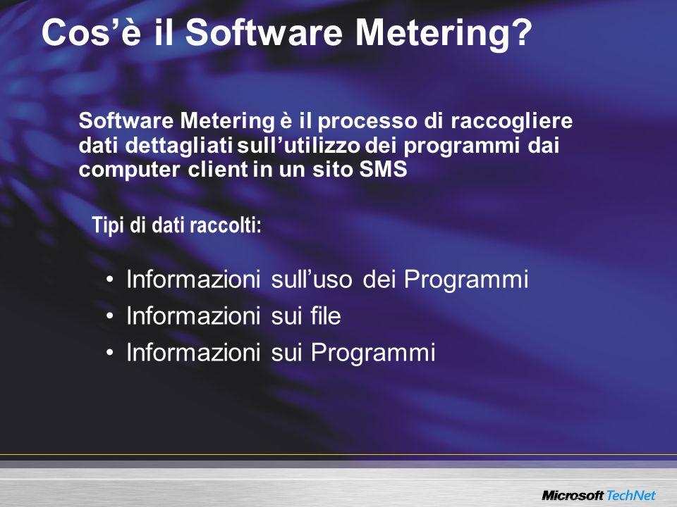 Tipi di dati raccolti: Cosè il Software Metering? Informazioni sulluso dei Programmi Informazioni sui file Informazioni sui Programmi Software Meterin