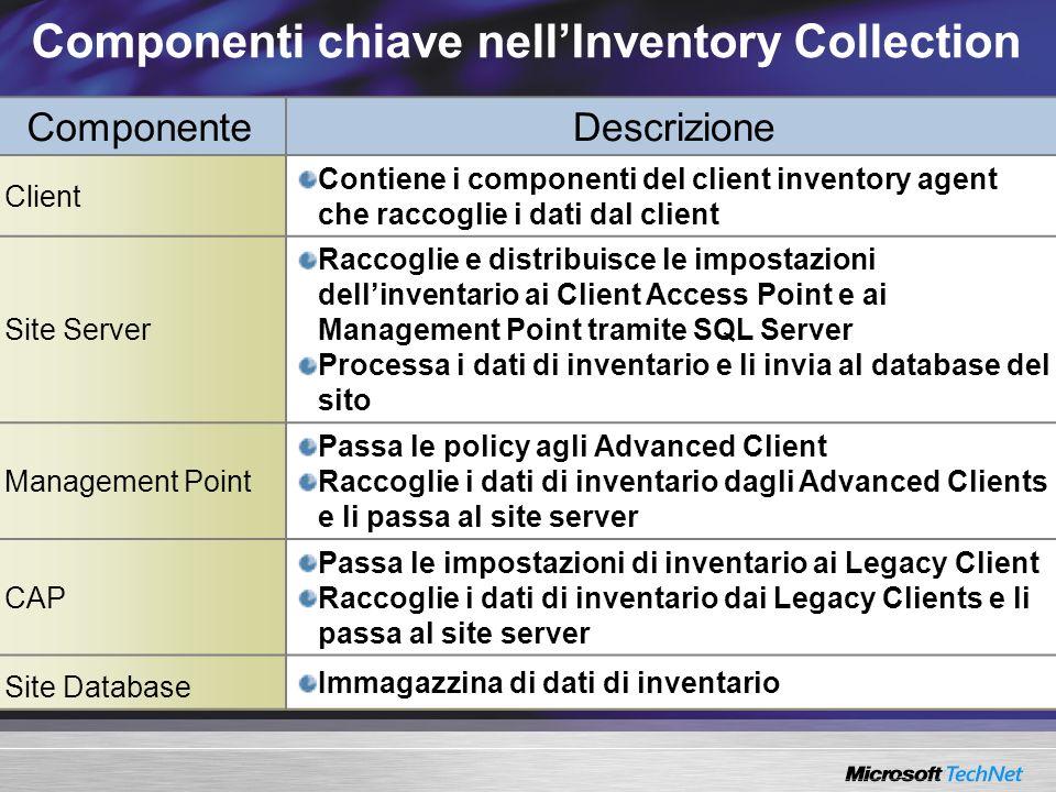 Componenti chiave nellInventory Collection Componente Descrizione Client Contiene i componenti del client inventory agent che raccoglie i dati dal cli