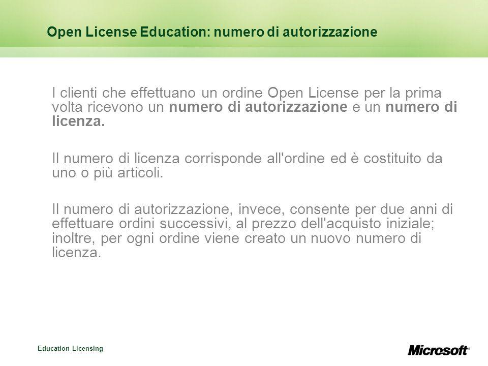 Education Licensing Open License Education: numero di autorizzazione I clienti che effettuano un ordine Open License per la prima volta ricevono un nu