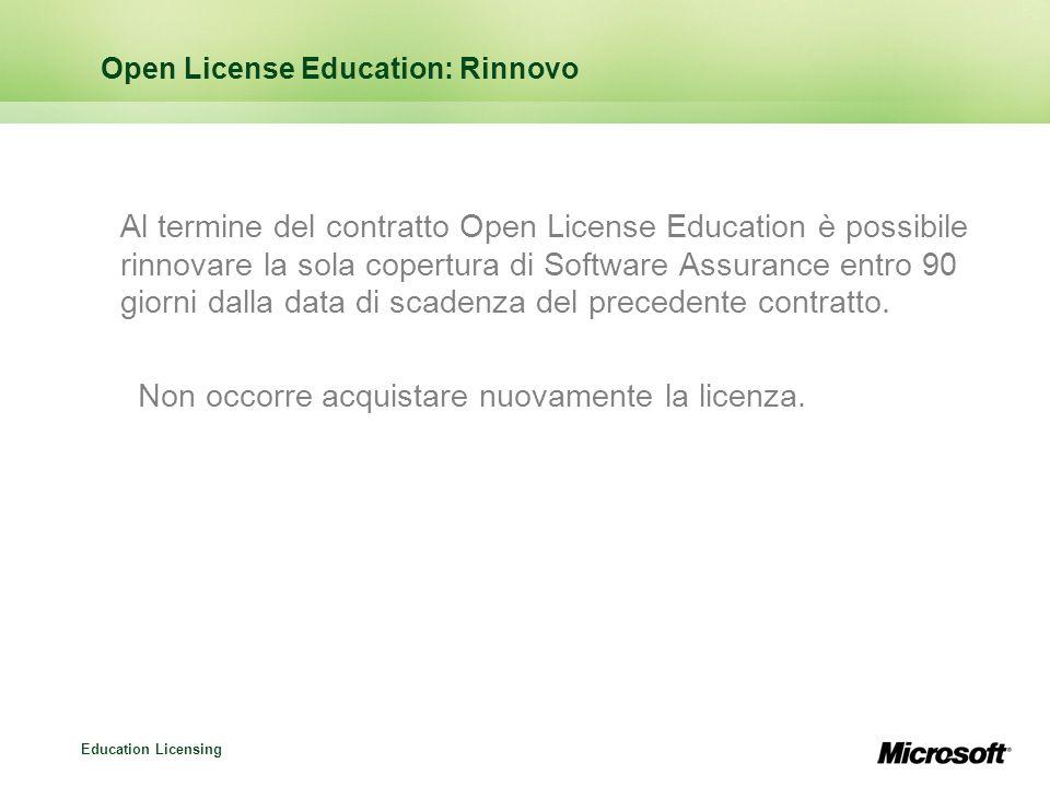 Education Licensing Open License Education: Rinnovo Al termine del contratto Open License Education è possibile rinnovare la sola copertura di Softwar