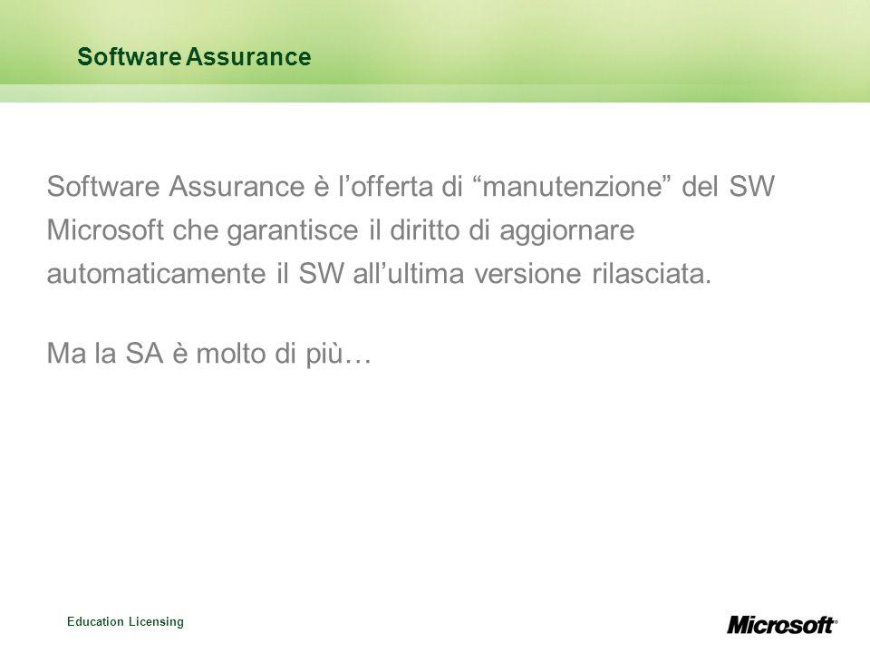 Education Licensing Software Assurance Software Assurance è lofferta di manutenzione del SW Microsoft che garantisce il diritto di aggiornare automati