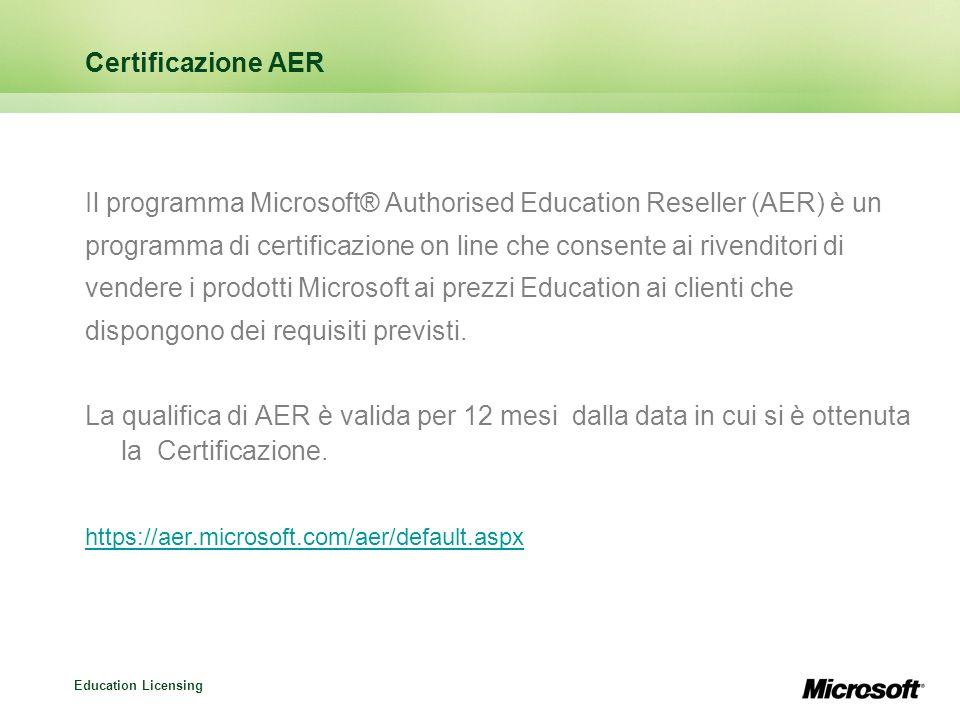 Education Licensing Microsoft Easy Open: caratteristiche Si rivolge ad istituzioni con limitate esigenze di acquisto Ordine iniziale: 5 licenze Microsoft di qualunque tipo Riordino: una licenza qualunque