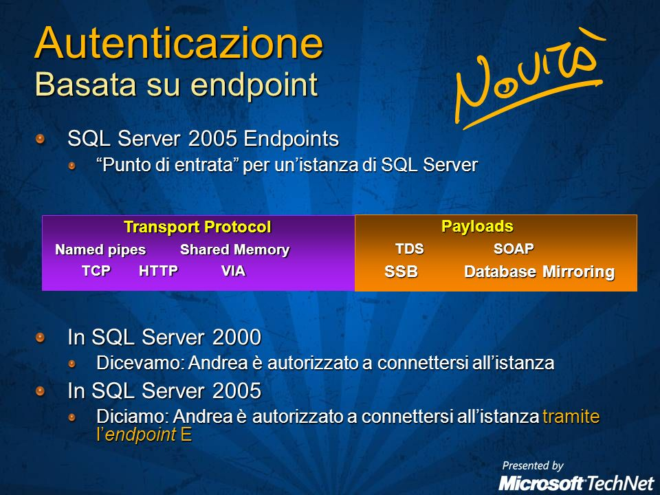 Autenticazione Basata su endpoint SQL Server 2005 Endpoints Punto di entrata per unistanza di SQL Server In SQL Server 2000 Dicevamo: Andrea è autorizzato a connettersi allistanza In SQL Server 2005 Diciamo: Andrea è autorizzato a connettersi allistanza tramite lendpoint E Transport Protocol Transport Protocol Named pipes Shared Memory Named pipes Shared Memory TCP HTTP VIA Payloads Payloads TDSSOAP SSB Database Mirroring SSB Database Mirroring