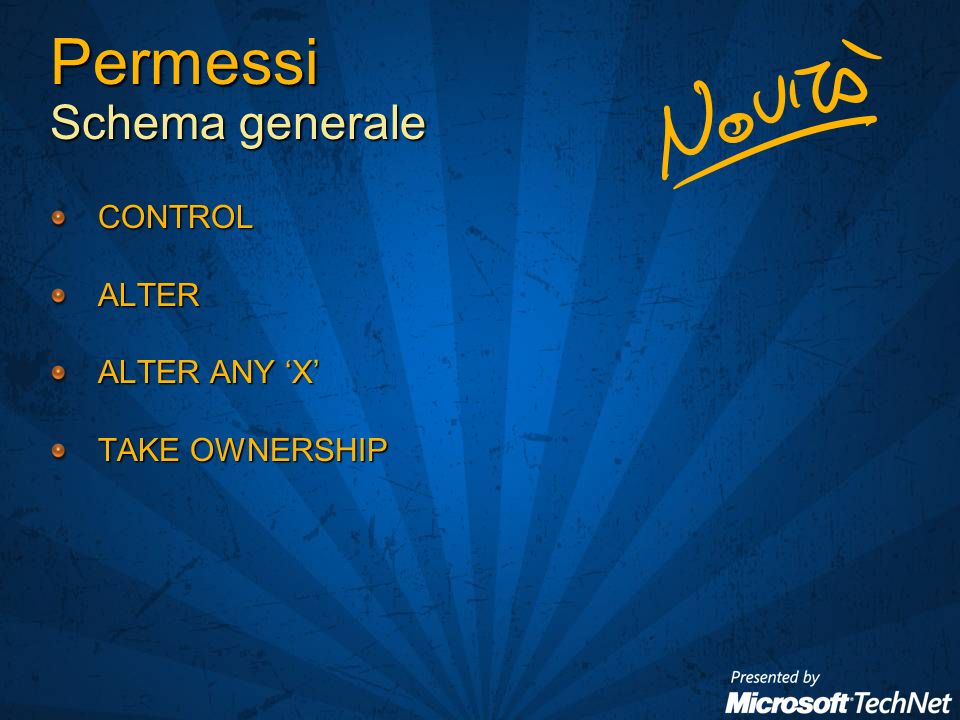 Permessi Schema generale CONTROLALTER ALTER ANY X TAKE OWNERSHIP