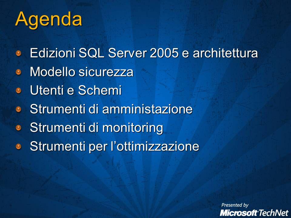 Agenda Edizioni SQL Server 2005 e architettura Modello sicurezza Utenti e Schemi Strumenti di amministazione Strumenti di monitoring Strumenti per lottimizzazione