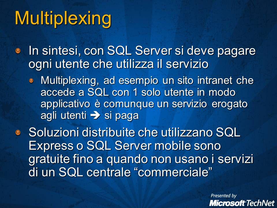Multiplexing In sintesi, con SQL Server si deve pagare ogni utente che utilizza il servizio Multiplexing, ad esempio un sito intranet che accede a SQL con 1 solo utente in modo applicativo è comunque un servizio erogato agli utenti si paga Soluzioni distribuite che utilizzano SQL Express o SQL Server mobile sono gratuite fino a quando non usano i servizi di un SQL centrale commerciale
