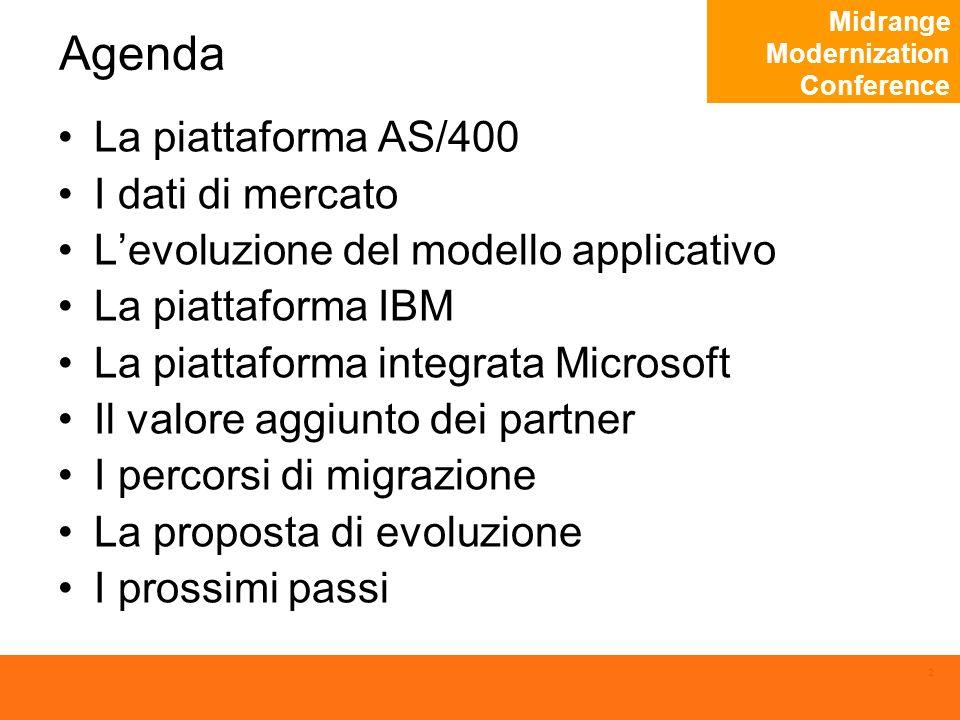 Midrange Modernization Conference 2 Agenda La piattaforma AS/400 I dati di mercato Levoluzione del modello applicativo La piattaforma IBM La piattaforma integrata Microsoft Il valore aggiunto dei partner I percorsi di migrazione La proposta di evoluzione I prossimi passi