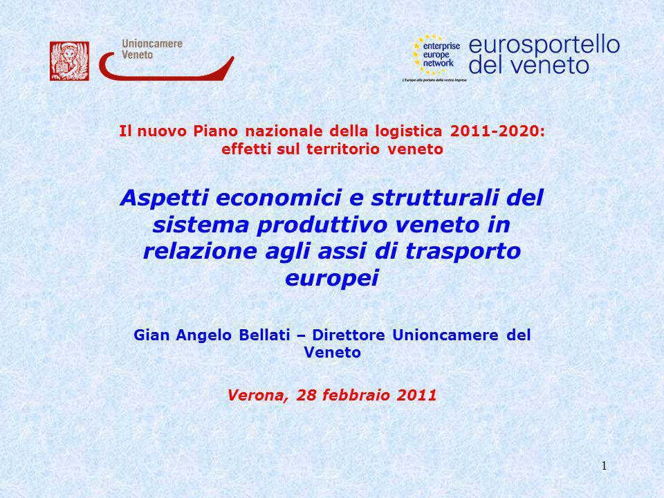 2 Il sistema produttivo del Veneto Il Veneto si caratterizza per un tessuto imprenditoriale di oltre 458.000 imprese, un tasso di disoccupazione ben al di sotto della media nazionale (5,2%) e soprattutto per un elevato valore delle esportazioni (più di 33.000 milioni di euro nei primi tre trimestri del 2010).