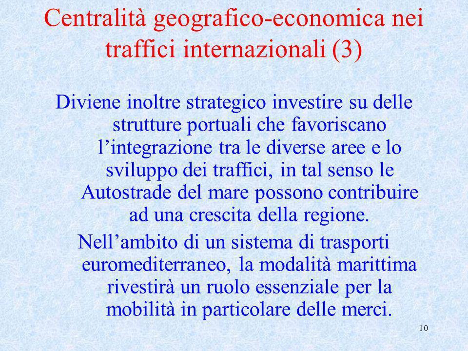 10 Centralità geografico-economica nei traffici internazionali (3) Diviene inoltre strategico investire su delle strutture portuali che favoriscano li