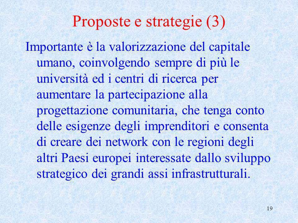 19 Proposte e strategie (3) Importante è la valorizzazione del capitale umano, coinvolgendo sempre di più le università ed i centri di ricerca per aum