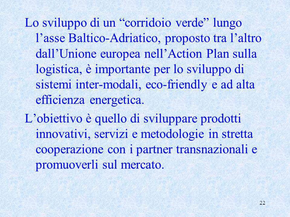 22 Lo sviluppo di un corridoio verde lungo lasse Baltico-Adriatico, proposto tra laltro dallUnione europea nellAction Plan sulla logistica, è importan