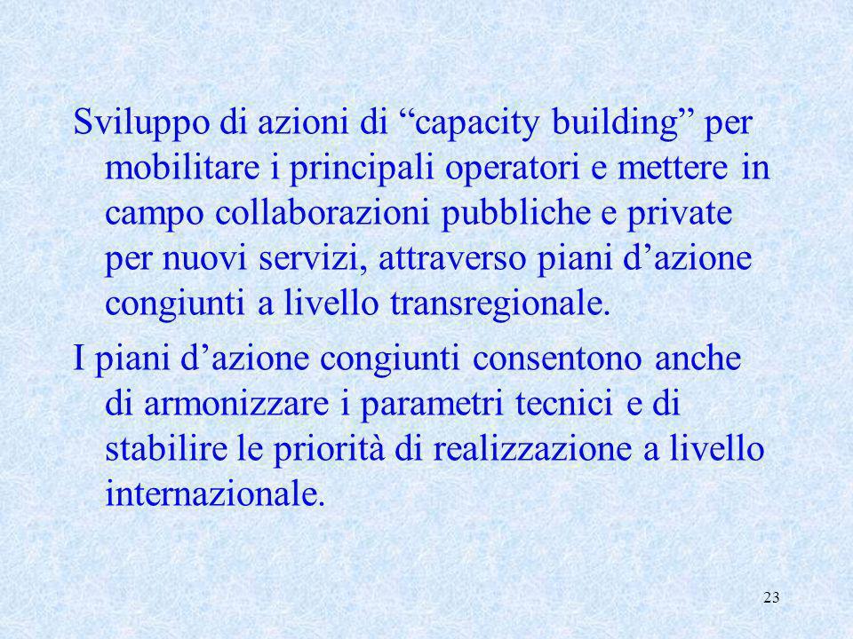 23 Sviluppo di azioni di capacity building per mobilitare i principali operatori e mettere in campo collaborazioni pubbliche e private per nuovi servi