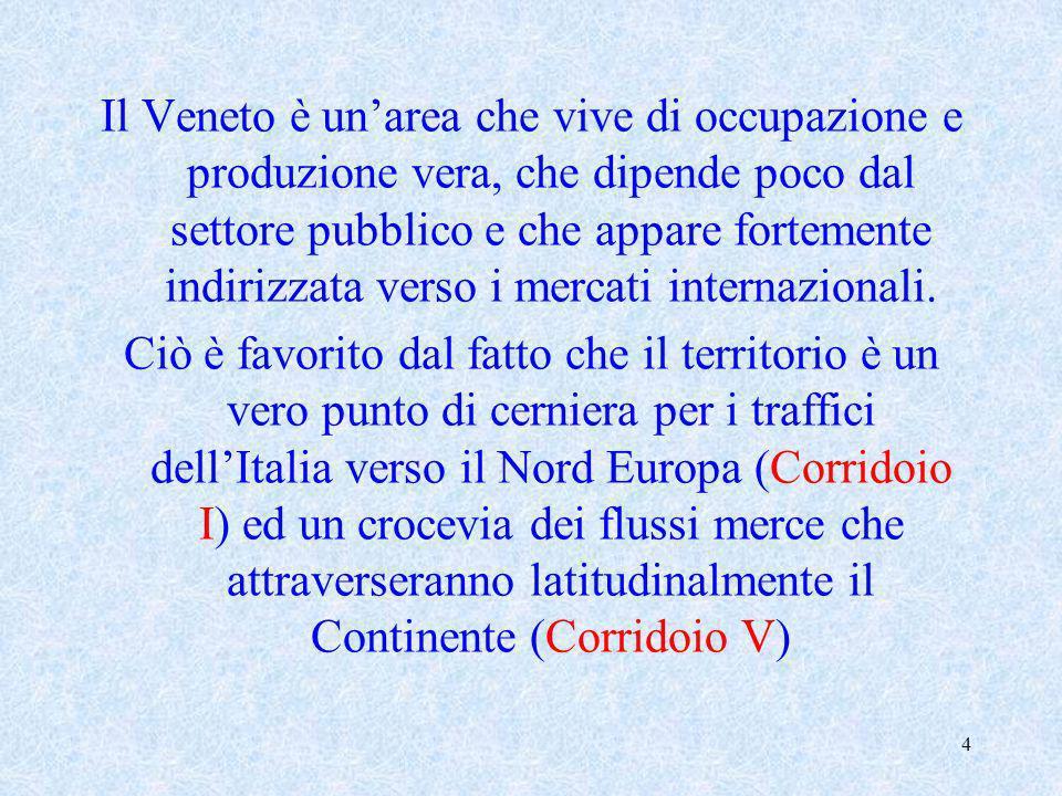 4 Il Veneto è unarea che vive di occupazione e produzione vera, che dipende poco dal settore pubblico e che appare fortemente indirizzata verso i merc