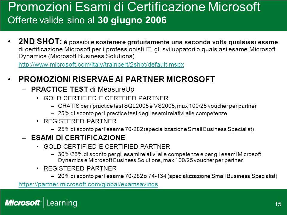 15 Promozioni Esami di Certificazione Microsoft Offerte valide sino al 30 giugno 2006 2ND SHOT: è possibile sostenere gratuitamente una seconda volta qualsiasi esame di certificazione Microsoft per i professionisti IT, gli sviluppatori o qualsiasi esame Microsoft Dynamics (Microsoft Business Solutions) http://www.microsoft.com/italy/traincert/2shot/default.mspx PROMOZIONI RISERVAE AI PARTNER MICROSOFT –PRACTICE TEST di MeasureUp GOLD CERTIFIED E CERTFIED PARTNER –GRATIS per i practice test SQL2005 e VS2005, max 100/25 voucher per partner –25% di sconto per i practice test degli esami relativi alle competenze REGISTERED PARTNER –25% di sconto per lesame 70-282 (specializzazione Small Business Specialist) –ESAMI DI CERTIFICAZIONE GOLD CERTIFIED E CERTIFIED PARTNER –30%/25% di sconto per gli esami relativi alle competenze e per gli esami Microsoft Dynamics e Microsoft Business Solutions, max 100/25 voucher per partner REGISTERED PARTNER –20% di sconto per lesame 70-282 o 74-134 (specializzazione Small Business Specialist) https://partner.microsoft.com/global/examsavings