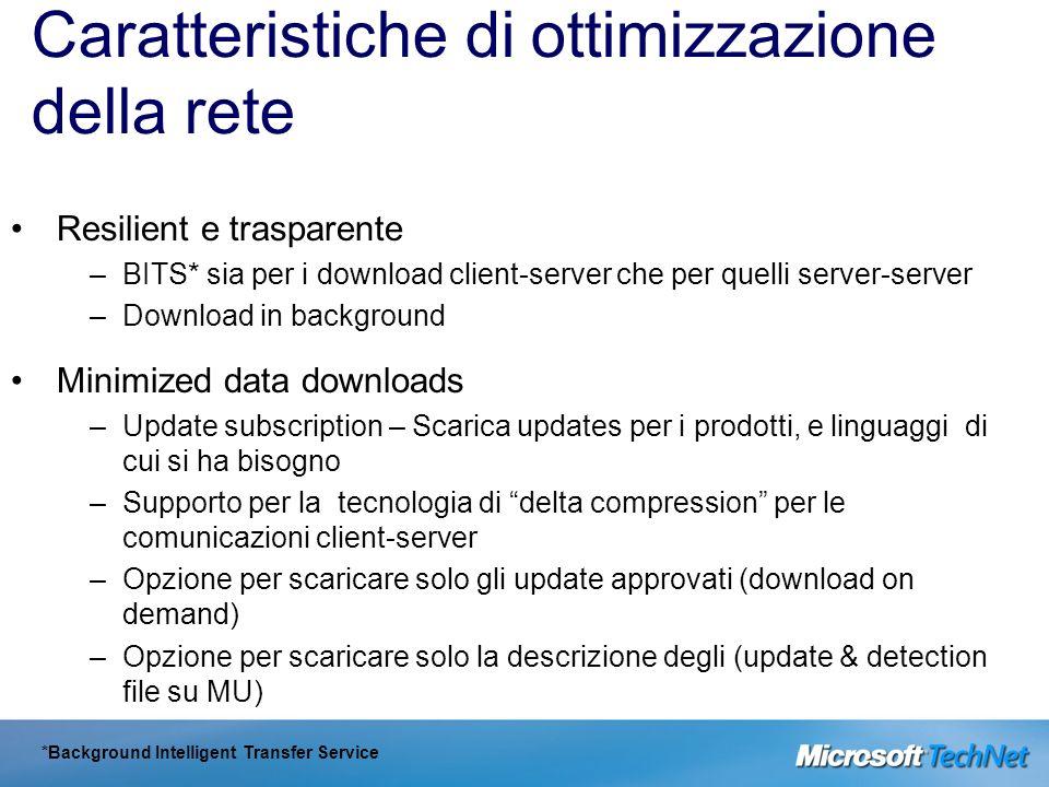 Caratteristiche di ottimizzazione della rete Resilient e trasparente –BITS* sia per i download client-server che per quelli server-server –Download in