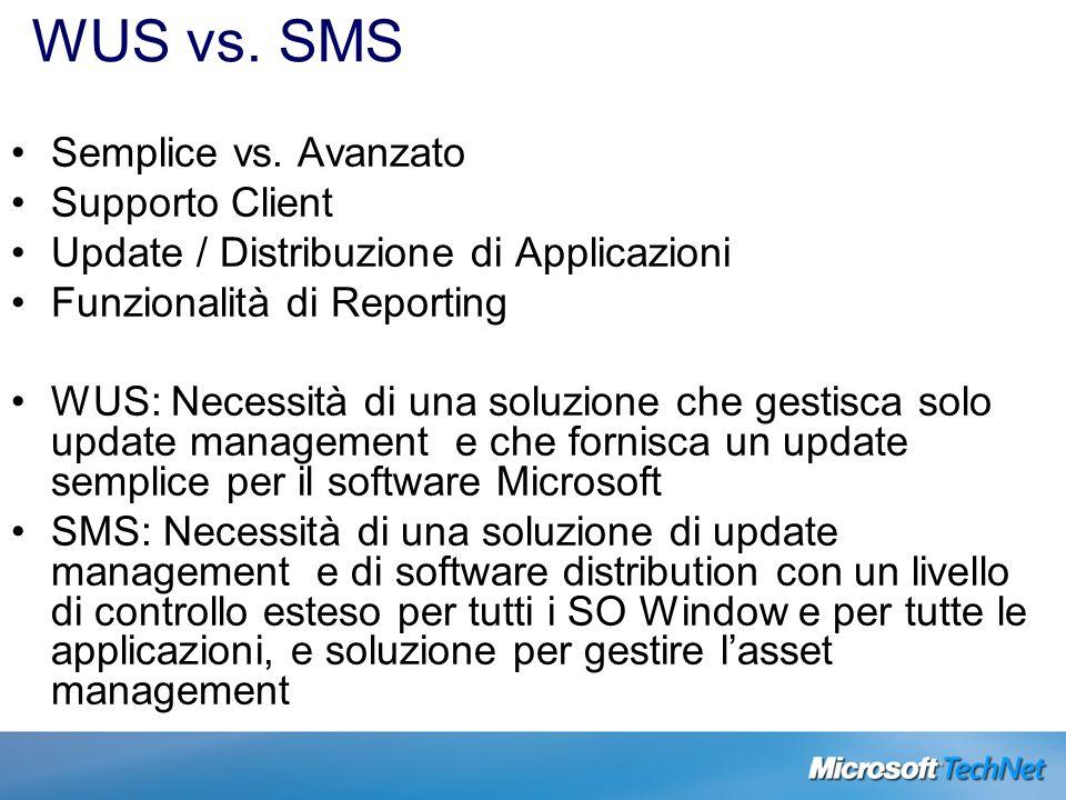 WUS vs. SMS Semplice vs. Avanzato Supporto Client Update / Distribuzione di Applicazioni Funzionalità di Reporting WUS: Necessità di una soluzione che