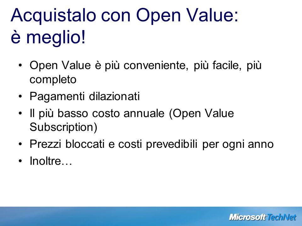 Acquistalo con Open Value: è meglio! Open Value è più conveniente, più facile, più completo Pagamenti dilazionati Il più basso costo annuale (Open Val
