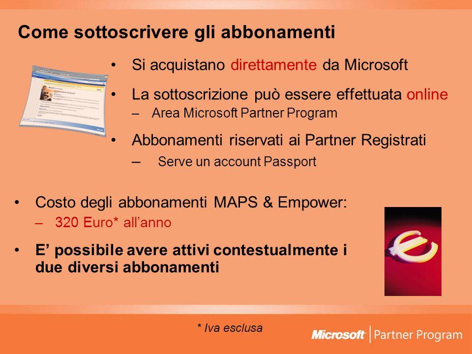 Come sottoscrivere gli abbonamenti Si acquistano direttamente da Microsoft La sottoscrizione può essere effettuata online –Area Microsoft Partner Prog
