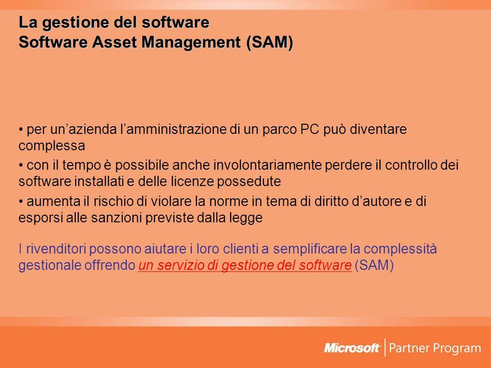 La gestione del software Software Asset Management (SAM) per unazienda lamministrazione di un parco PC può diventare complessa con il tempo è possibil