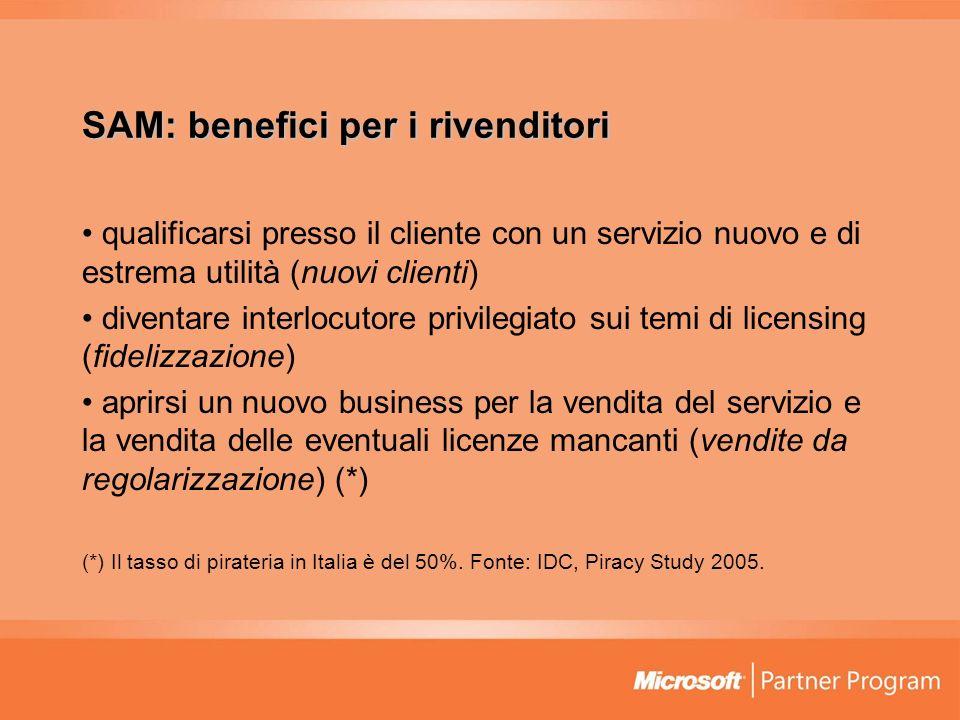 SAM: benefici per i rivenditori qualificarsi presso il cliente con un servizio nuovo e di estrema utilità (nuovi clienti) diventare interlocutore priv