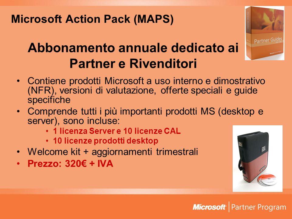 Microsoft Action Pack (MAPS) Abbonamento annuale dedicato ai Partner e Rivenditori Contiene prodotti Microsoft a uso interno e dimostrativo (NFR), ver