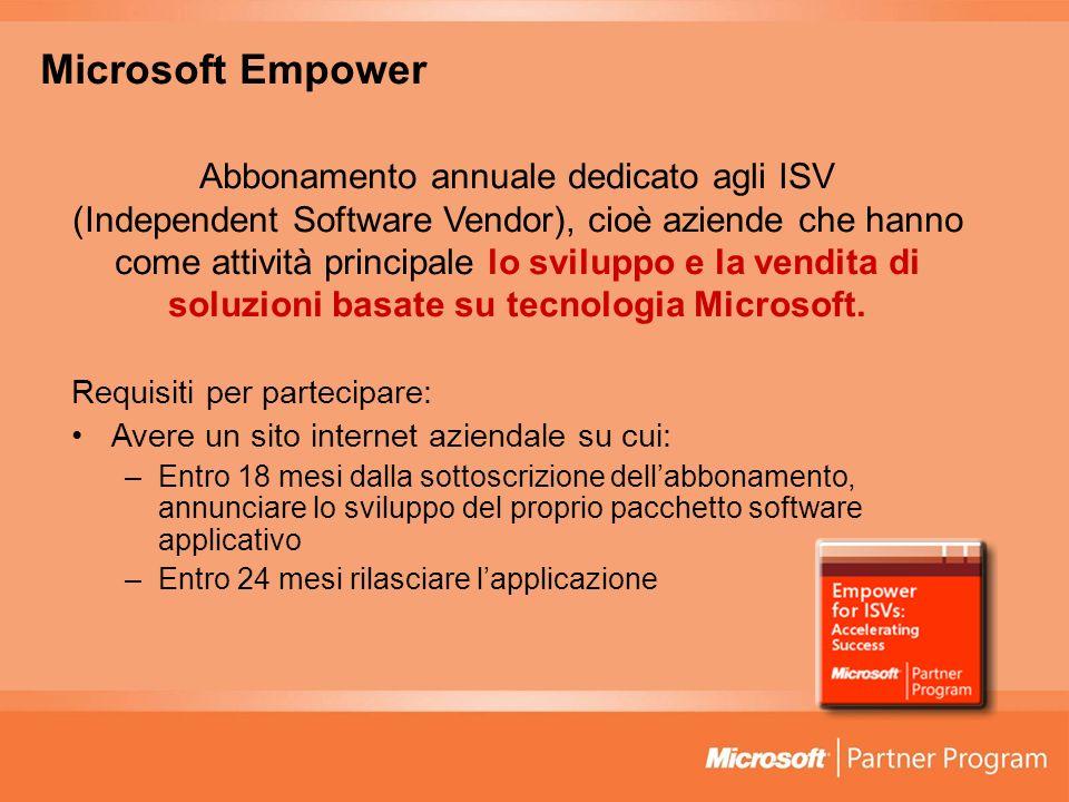 Microsoft Empower Abbonamento annuale dedicato agli ISV (Independent Software Vendor), cioè aziende che hanno come attività principale lo sviluppo e l