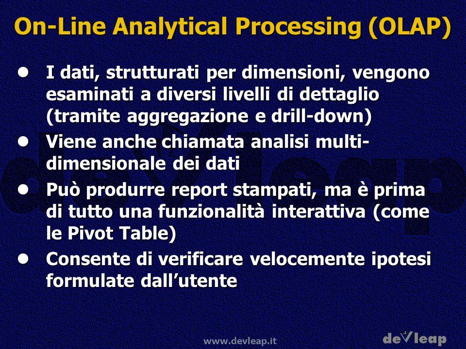 www.devleap.it On-Line Analytical Processing (OLAP) I dati, strutturati per dimensioni, vengono esaminati a diversi livelli di dettaglio (tramite aggr