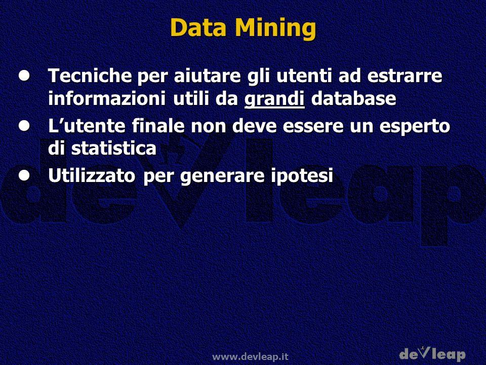 www.devleap.it Data Mining Tecniche per aiutare gli utenti ad estrarre informazioni utili da grandi database Tecniche per aiutare gli utenti ad estrar