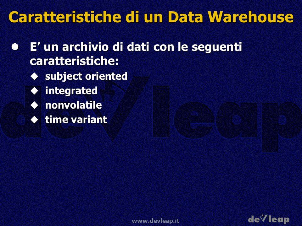 www.devleap.it Caratteristiche di un Data Warehouse E un archivio di dati con le seguenti caratteristiche: E un archivio di dati con le seguenti carat