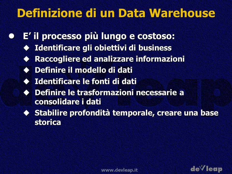 www.devleap.it Definizione di un Data Warehouse E il processo più lungo e costoso: E il processo più lungo e costoso: Identificare gli obiettivi di bu